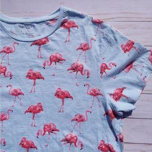 Primark Flamingo Print Slim Fit Short Sleeve Tee L